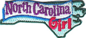 """NORTH CAROLINA GIRL""- Iron On Patch/South, State Shape/Words,Names, Sayings"