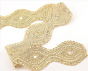 BridalMary Hand Beaded Bridal 1 YD Wedding Dress DIY Sash Applique Trim Golden