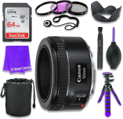 Canon EF 50mm f/1.8 STM Lens for Canon DSLR Cameras & SanDisk 64GB Class 10 Memory Card + Complete Accessory Kit