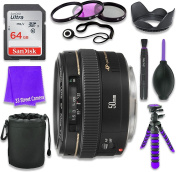 Canon EF 50mm f/1.4 USM Lens for Canon DSLR Cameras & SanDisk 64GB Class 10 Memory Card + Complete Accessory Kit