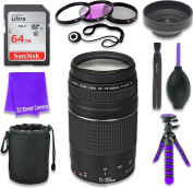 Canon EF 75-300mm f/4-5.6 III Lens for Canon DSLR Cameras & SanDisk 64GB Class 10 Memory Card + Complete Accessory Kit