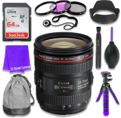 Canon EF 24-70mm f/4L IS USM Lens for Canon DSLR Cameras & SanDisk 64GB Class 10 Memory Card + Complete Accessory Kit
