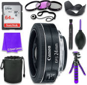 Canon EF-S 24mm f/2.8 STM Lens for Canon DSLR Cameras & SanDisk 64GB Class 10 Memory Card + Complete Accessory Kit