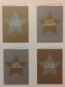(8) Silver & Gold Star Awards Party Photo Cards - 8 Party Photo Cards and Envelopes