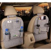 M'Baby Car Back Seat Organiser Woollen Felt Seat Pocket Protector Storage for Bottle, Tissue Box, Toys
