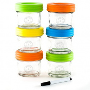 Glass Baby Food Storage Containers - Set contains 6 Small Reusable 120ml Jars with Airtight Lids - Safely Freeze your Homemade Baby Food