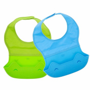 Waterproof Silicone Baby Bibs with Comfortable Fabric Neck, Easi-roll Feeding Bib with Food Catcher Pocket, 2 Pack, Blue/Green, Homwe