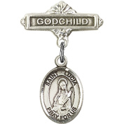 Sterling Silver Baby Badge with St. Lucia of Syracuse Charm and Godchild Badge Pin 2.5cm X 1.6cm