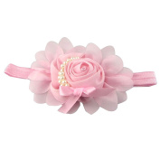 Generic Baby Girls Chiffon Pearl Headband Rose Flower Hairband Photography Prop Band