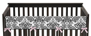 Sweet Jojo Designs Pink and Black Sophia Long Front Rail Guard Baby Teething Cover Crib Protector Wrap