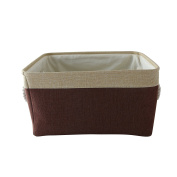 TheWarmHome Rectangular Fabric Foldable Laundry Basket,Brown Patchwork