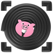 GAGAKU 16.4 ft Childproofing Edge Protector Corner Guard with 1 Foam Door Stopper, Extra Long 3M Adhesive - Black