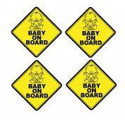 Mandala Crafts Baby On Board Front Adhesive Vinyl Decal Safety Yellow Signs Pack of 4