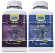 A REVOLUTION IN BONE HEALTH - 2 BOTTLES OF CALCIUM & MAGNESIUM 120 CT. - DAY AND NIGHT KIT - WITH VITAMINS D2, D3, K2, B6 AND E
