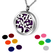 HOUSWEETY Aromatherapy Essential Oil Diffuser Necklace-Stainless Steel Tree of Life Locket Pendant,11 Refill Pads