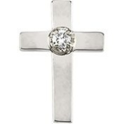 14K White Gold 11.00X8mm Cross Lapel Pin With Diamond