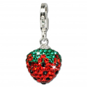 SilberDream Glitter Charm Swarowski Elements strawberry 925 Sterling Silver Charms Pendant for Charms Bracelet, Necklace or Earring GSC301