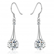 Platinum-Plated Silver Cubic Zirconia Tear Drop Earrings(6.5 cttw)