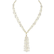 Sterling Silver White Cultured Freshwater Pearl Tassel Pendant Necklace (5-7 mm) Perfect Gift