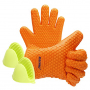 Oven Mitts, RISEPRO Heat Resistant Grilling BBQ Silicone Gloves for Kitchen, Cooking, Baking, Smoking, Boiling & Potholder