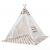 BATTOP Kids Teepee Tent Cotton Canvas Two Window Classic Style