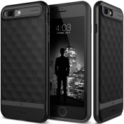 iPhone 7 Plus Case, Caseology [Parallax Series] Slim Dual Layer Protective Textured Geometric Cover Corner Cushion Design [Matte Black] for Apple iPhone 7 Plus