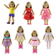 ZWSISU 46cm 7 Outfits American Girl Doll Accessories Set