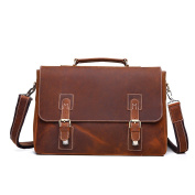 The Ninth Day Handmade Satchel Briefcase Laptop Messenger Genuine Leather Business Office Bag