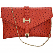 Designer Womens Elegant Faux Leather Envelope Clutch Bag Purse