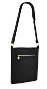 Womens Quilted Faux Leather Zipped Messenger Cross Body Shoulder Bag