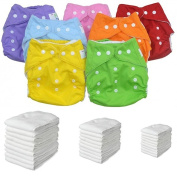 Washable Nappy Set Pocket 30 + 30 Inserts Microfibre + Roll Bamboo -7 Colours