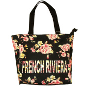 Robin Ruth - Small French Riviera 'Flowered' Shopping Bag - Black, Pink