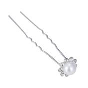 SZTARA 20Pcs Bridal Hair Pins U Shaped Flower Pearl Rhinestone Wedding Hair Accessories