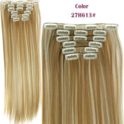 HotQueen European Clip In Human Hair Extensions Straight Ombre Blonde 27#/613# 100g 7pcs
