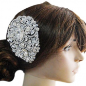 Bridal Silver Plated Wedding Floral Pattern Austrian Crystal Haircomb