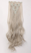 "S-noilite . 24""(61cm) Full Head Clip in Hair Extensions 8 Piece 18clips Curly Ash Blonde mix Silver Grey"