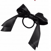 1Pcs Beauty Headwear Girls Satin Ribbon Bow Hair Band Rope Ponytail Holder Black