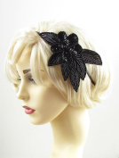 Black Sequin Beaded Headband Fascinator Vintage 1920s Great Gatsby Flapper 601 *EXCLUSIVELY SOLD BY STARCROSSED BEAUTY*