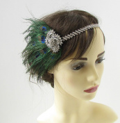 Silver Peacock Feather Headband 1920s Great Gatsby Flapper Headpiece Green 295 *EXCLUSIVELY SOLD BY STARCROSSED BEAUTY*