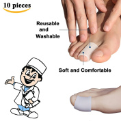 Sumifun - 10 Piece of 100% All Gel Toe Caps Comfortable Soft Material Protectors to Prevent Blisters Corns for Adult Big Toes and Small Toes