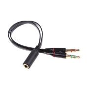 TheFlyingWhopper 3.5mm Speaker Mic Stereo Audio Jack Y Splitter Cable 2 Male to Female.