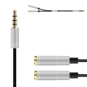 Cmhoo Headphone Splitter Cable Adapter - 3.5mm Audio Stereo Y Splitter Cable 3.5mm Male to 2 Port 3.5mm Female for Earphone and Headset Splitter Adapter Metal Housing