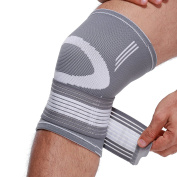 NEOtech Care (TM) Knee Brace, Support, Band, Sleeve - Light, Elastic & Breathable Fabric - Muscle Relief - Adjustable Compression Strap - Grey Colour - Sizes L - Package of 1 unit