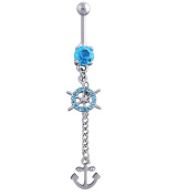 Fengteng Ship Anchor Dangle Cute Navel Ring Belly Bar Button Barbell Stud Body Jewellery Piercing Kit