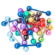 "Lot of 20 Mixed Anodized Titanium Mix Tongue Rings 14ga-5/8"" (16 mm) By Eg Gifts"