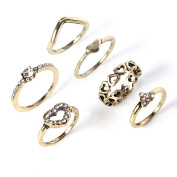 Retro Fashion Heart Knuckle Rings (6) Set With Diamonds