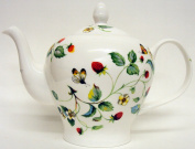 Strawberries & Butterflies Teapot Large Fine Bone China Teapot (6 cups capacity) Hand Decorated in UK