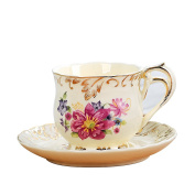 European-style Ceramic Coffee Cup And Saucer Set, 1 Cup 1 Singles