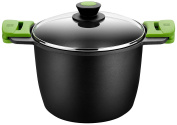 Bra Prior - High pot with glass lid and Silicone Handles 24 cm Black
