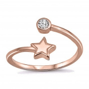 RS JEWELS Beautiful 14K Rose Gold Over 925 Sterling Silver Adjustable Bypass Toe Ring-White CZ Diamond Star Shape Ring